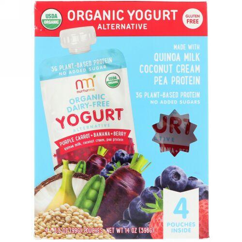 NurturMe, Organic Yogurt Alternative, Purple Carrot + Banana + Berry, 4 Pouches, 3.5 oz (99 g) Each (Discontinued Item)