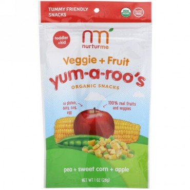 NurturMe, Yum-A-Roo's, Organic Veggie + Fruit Snacks, Pea, Sweet Corn, Apple, 1 oz (28 g) (Discontinued Item)