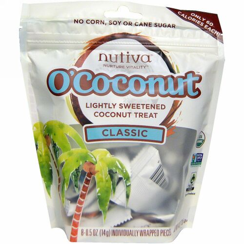 Nutiva, Organic O'Coconut Classic, 8 Individually Wrapped Pieces , 4 oz (Discontinued Item)