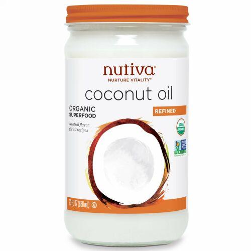 Nutiva, オーガニック ココナッツオイル, 精製, 23 液量オンス (680 ml)