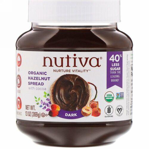 Nutiva, オーガニックヘーゼルナッツスプレッド, ダーク, 13オンス (369 g)