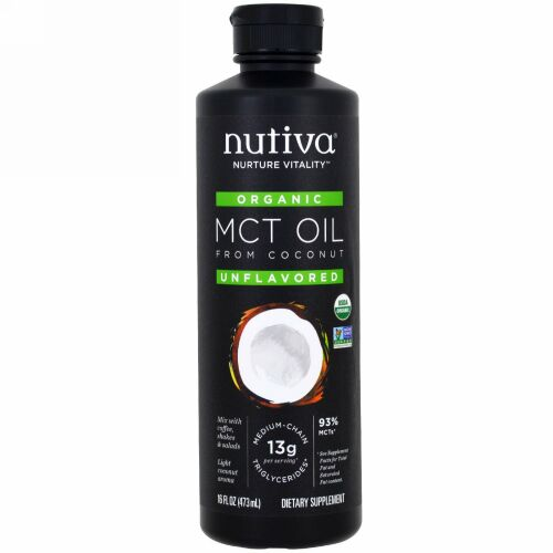 Nutiva, オーガニックMCTオイル(ココナッツ由来), 無香料, 16液量オンス (473 ml)