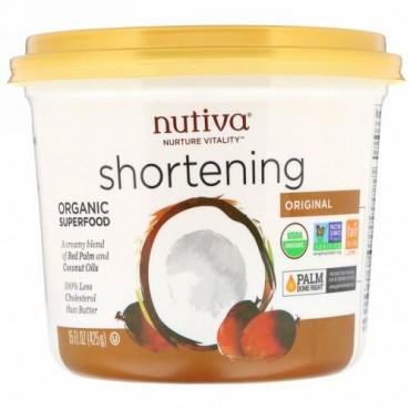 Nutiva, オーガニックショートニング、オリジナル、レッドパームとココナッツオイル、425 g(15 oz)