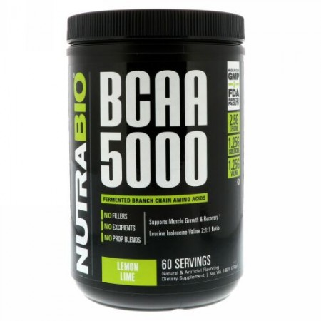 NutraBio Labs, BCAA 5000、レモンライム、0.82 lb (372 g) (Discontinued Item)