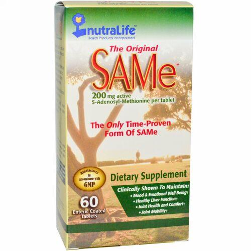 NutraLife, オリジナルSAMe、200mg、腸溶性コーティングタブレット60粒