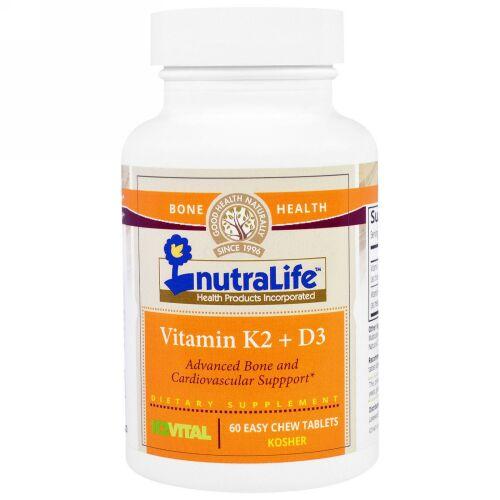 NutraLife, ビタミンK2 + D3、飲みやすいチュウタブレット60錠 (Discontinued Item)