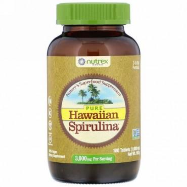 Nutrex Hawaii, ピュアHawaiian Spirulina(ハワイアンスピルリナ)、1回分あたり3,000mg、タブレット180粒