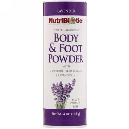 NutriBiotic, グレープフルーツ種子エキス&ラベンダーオイル配合ボディ&フットパウダー、ラベンダー、4 oz (113 g)
