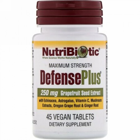 NutriBiotic, ディフェンスプラス(DefensePlus)、最高強度、ビーガンタブレット45粒