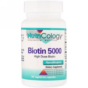 Nutricology, ビオチン5000、植物性カプセル60錠