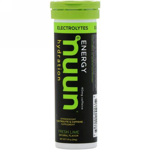 Nuun, エネルギー、発泡電解質 & カフェインサプリメント、フレッシュライム、10錠 (Discontinued Item)