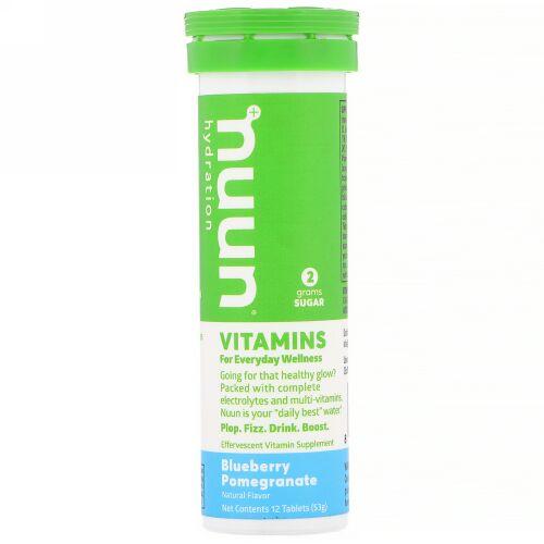 Nuun, ビタミン、水分補給、ブルーベリーとザクロ、12粒 (Discontinued Item)