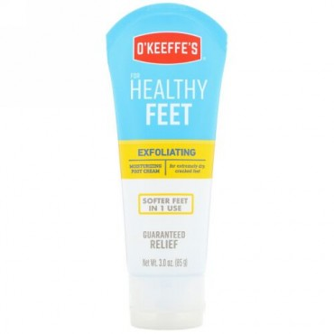 O'Keeffe's, 角質除去モイスチャライジングフットクリーム、極度に乾燥した、かさついた足用、85g(3 oz)