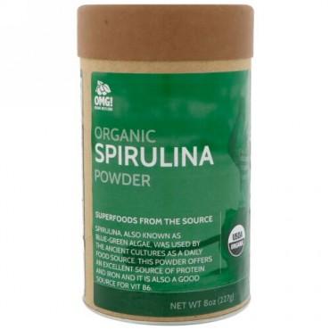 OMG! Organic Meets Good, オーガニック、スピルリナパウダー、8 oz (227 g) (Discontinued Item)