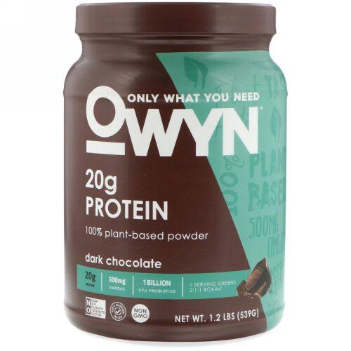 OWYN, Protein 100% Plant-Based Powder, Dark Chocolate, 1.2 lb (539 g) (Discontinued Item)