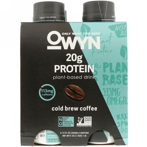 OWYN, Protein Plant-Based Shake, Cold Brew Coffee, 4 Shakes, 12 fl oz (355 ml) Each (Discontinued Item)