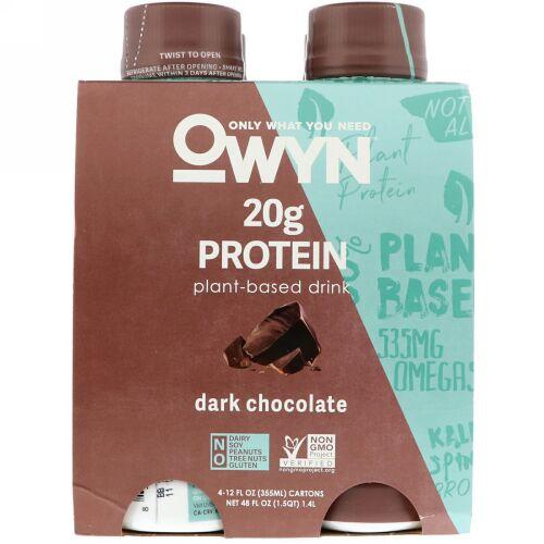 OWYN, Protein Plant-Based Shake, Dark Chocolate, 4 Shakes, 12 fl oz (355 ml) Each (Discontinued Item)
