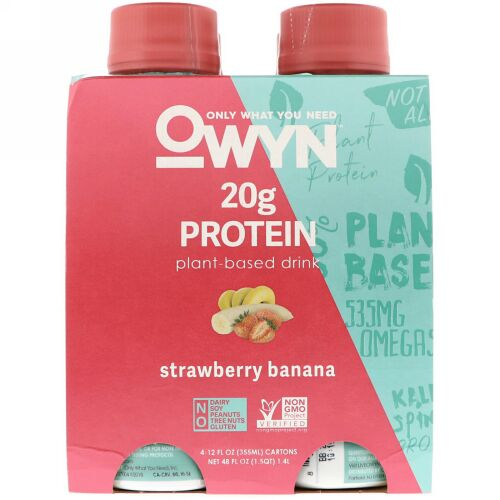 OWYN, Protein Plant-Based Shake, Strawberry Banana, 4 Shakes, 12 fl oz (355 ml) Each (Discontinued Item)