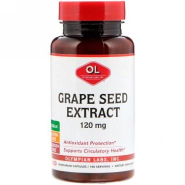 Olympian Labs, ブドウ種子エキス、120 mg、ベジタリアンカプセル100錠 (Discontinued Item)