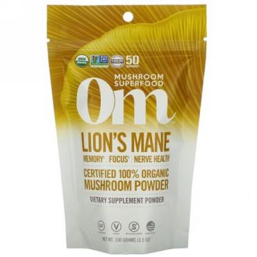 Om Mushrooms, Lion's Mane, Certified 100% Organic Mushroom Powder, 3.5 oz (100 g)