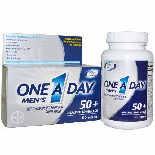 One-A-Day, Men's, 50+ Healthy Advantage、マルチビタミン/マルチミネラル、65錠 (Discontinued Item)