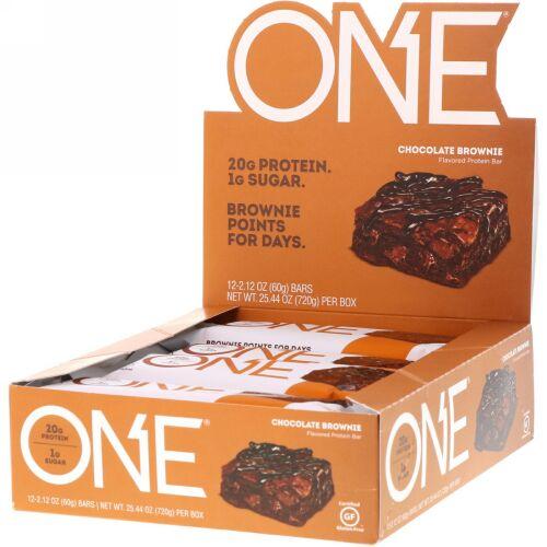 One Brands, ONE Bar, Chocolate Brownie, 12 Bars, 2.12 oz (60 g) Each