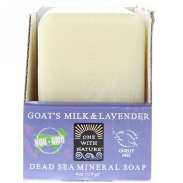 One with Nature, Dead Sea Mineral Soap, Goat's Milk & Lavender, 6 Bars, 4 oz (114 g) Each (Discontinued Item)
