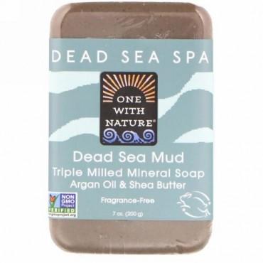 One with Nature, トリプルミルドミネラルソープバー、死海の泥、無香料、200g(7oz)