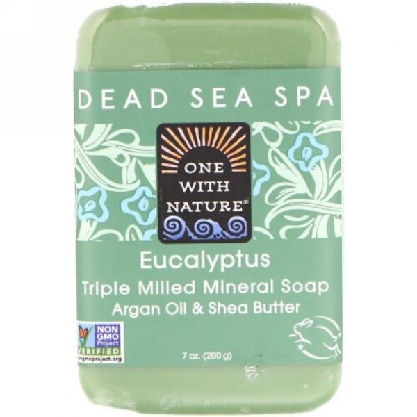 One with Nature, Triple Milled Mineral Soap Bar, Eucalyptus, 7 oz (200 g) (Discontinued Item)