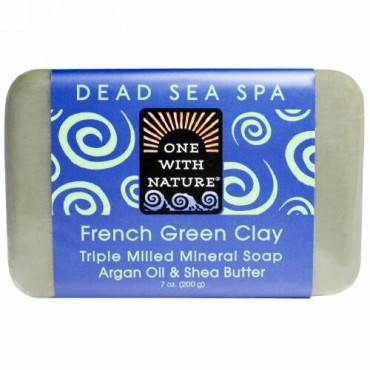 One with Nature, Triple Milled Mineral Soap Bar, French Green Clay, 7 oz (200 g) (Discontinued Item)