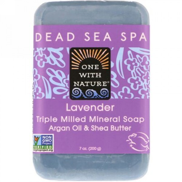 One with Nature, Triple Milled Mineral Soap Bar, Lavender, 7 oz (200 g)