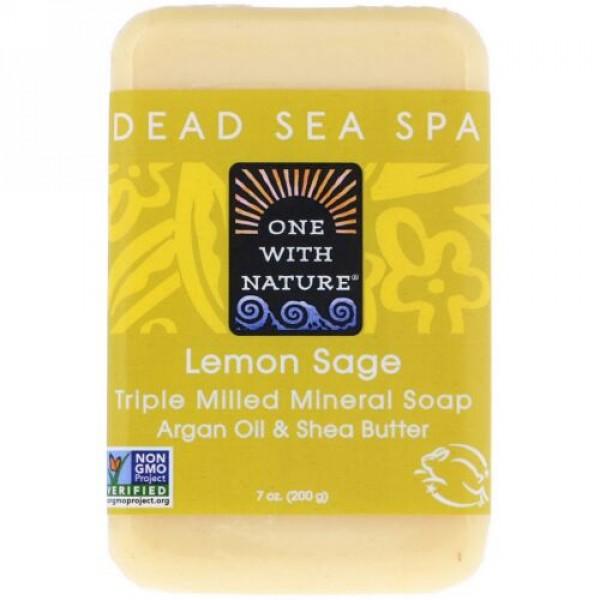 One with Nature, Triple Milled Mineral Soap Bar, Lemon Sage, 7 oz (200 g)