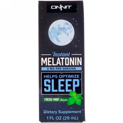 Onnit, Instant Melatonin, Fresh Mint Flavor, 3 mg , 1 fl oz (29 ml)