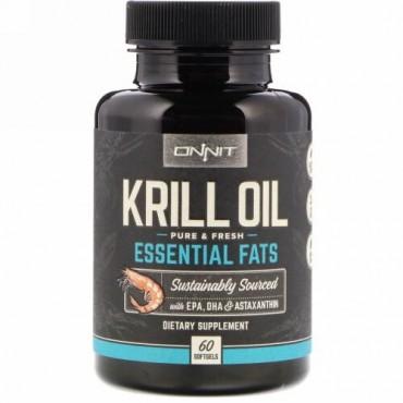 Onnit, クリルオイル、必須脂肪酸、ソフトジェル60粒