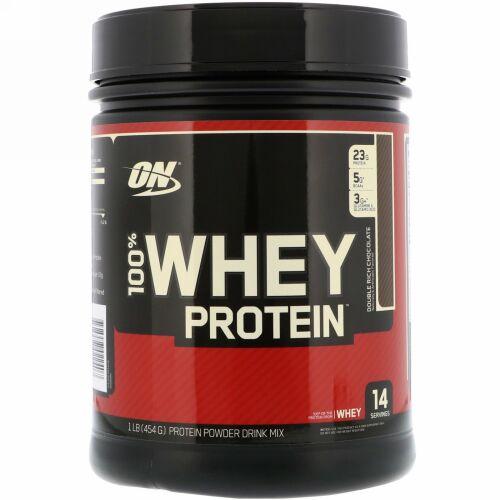 Optimum Nutrition, 100%ホエイタンパク質、ダブルリッチチョコレート、1 lb (454 g)