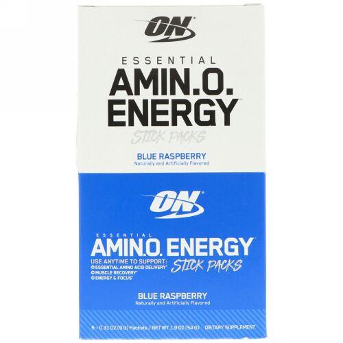Optimum Nutrition, Essential Amin.O. Energy, Blue Raspberry, 6 Stick Packs, 0.31 oz (9 g) Each (Discontinued Item)