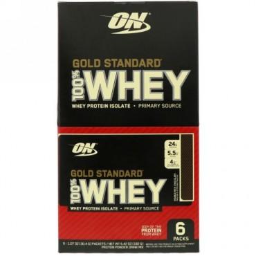 Optimum Nutrition, ゴールドスタンダード100%ホエイ、ダブルリッチチョコレート、6袋、各1.07 oz (30.4 g) (Discontinued Item)