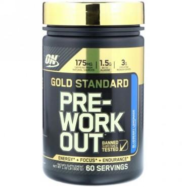 Optimum Nutrition, ゴールドスタンダード、Pre-Workout(プレワークアウト)、ブルーベリーレモネード、600g(1.32ポンド) (Discontinued Item)