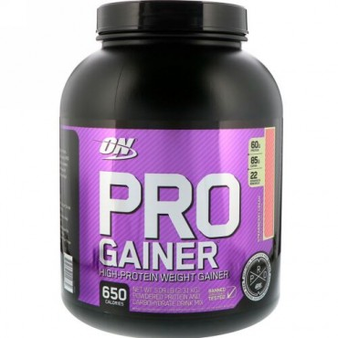 Optimum Nutrition, プロゲイナー、ハイプロテインウェイトゲイナー(体重増量)、ストロベリークリーム味、2.31kg(5.09ポンド) (Discontinued Item)