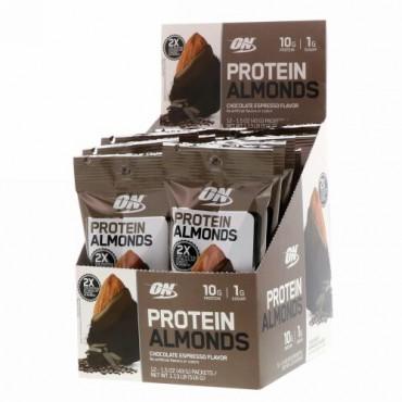 Optimum Nutrition, プロテインアーモンド、チョコレートエスプレッソ、12袋、各43g(1.5oz)