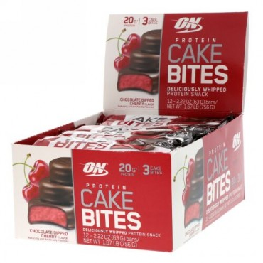 Optimum Nutrition, Protein Cake Bites, Chocolate Dipped Cherry, 12 Bars, 2.22 oz (63 g) Each (Discontinued Item)