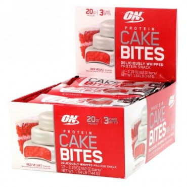 Optimum Nutrition, 1口プロテインケーキ、レッドベルベットケーキ味、12本、各62g (Discontinued Item)