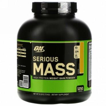 Optimum Nutrition, シリアスマス、高タンパク体重増量パウダー、バナナ、6 lb (2.72 kg)