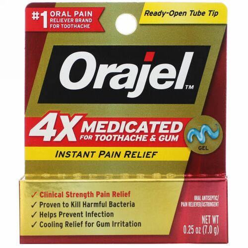 Orajel, 4X Medicated for Toothache & Gum, Instant Pain Relief Gel, 0.25 oz (7.0 g)