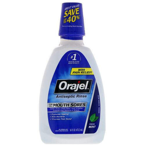 Orajel, Antiseptic Rinse For All Mouth Sores, Fresh Mint, 16 fl oz (473.2 ml) (Discontinued Item)