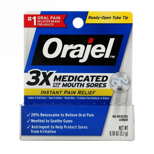Orajel, Instant Pain Relief Gel, 3X Medicated For All Mouth Sores, 0.18 oz (5.1 g)