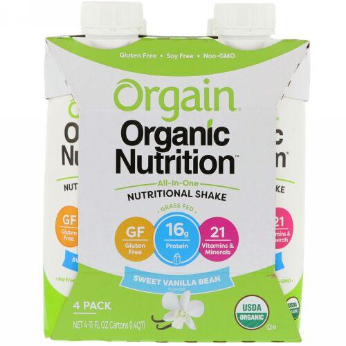 Orgain, Organic Nutrition, All In One Nutritional Shake, Sweet Vanilla Bean, 4 Pack, (11 fl oz) Each (Discontinued Item)