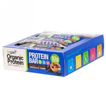 Orgain, オーガニック植物性プロテインバー、ピーナッツバターチョコレートチャンク、12本、各1.41 oz (40 g)