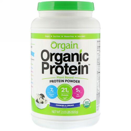 Orgain, オーガニック・プロテインパウダー、植物性、クッキー & クリーム、 2.03 lb (920 g) (Discontinued Item)
