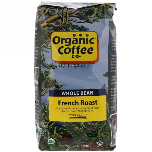 Organic Coffee Co., フレンチロースト、ホールビーンコーヒー、12オンス (340g) (Discontinued Item)
